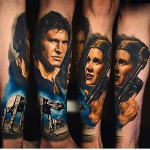 Han Solo e Princesa Leia de Star Wars #NikkoHurtado #gringo #realismo #realism #realismocolorido #hansolo #princesaleia #princessleia #harrisonford #carriefisher #walker #robot #starwars #movie #filme #geek #nerd #arma #gun #portrait #retrato