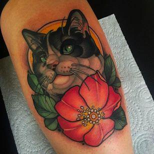 Adorable cat tattoo #cat #portrait #blossom #cattattoo #JoeFrost #animal #animaltattoo #neotraditional