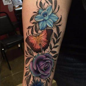 Combo style flower tattoo #flower #flowers #floral #butterfly #botanical #meganmassacre #symbolic