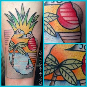 Double exposure tropical pineapple tattoo by Kane Berry. #doubleexposure #pineapple #tropical #beach #ocean #traditional #KaneBerry