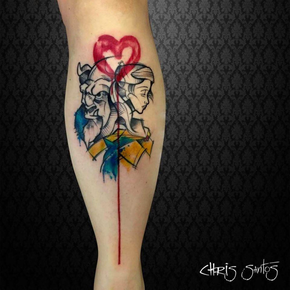 Tattoo de A Bela e a Fera por Chris Santos! #ChrisSantos #tatuadoresbrasileiros #ABelaEAFera #beautyandthebeast #beautyandthebeasttattoo #beautytattoo #bela #belatattoo #beasttattoo #fera #feratattoo #watercolor #aquarela #movies