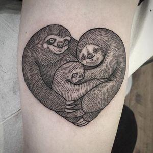 Sloth heart by Suflanda #Suflanda #sloth #heart #family #love #tattoooftheday