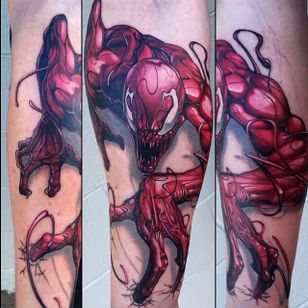 Canage Tattoo by Tony Sklepic #CarnageTattoos #SpiderManTattoo #SpiderManTattoos #SpiderMan #MarvelTattoos #ComicTattoos #ComicBook #SuperVillains #TonySklepic