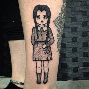 Sarah Whitehouse's (IG—warahshitehouse) Wednesday Addams sinisterly cute. #adorable #blackandgrey #cute #creepy #dotwork #SarahWhitehouse #WednesdayAddams