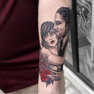 Romantic tattoo by Clementine Noraison #ClementineNoraison #illustrative #lovers #ModerneElectriqueTattoo