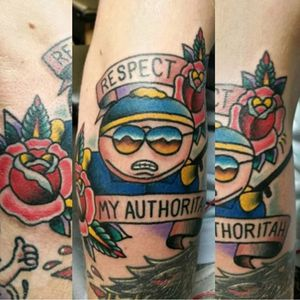 The spelling of the text here in this depiction of Officer Cartman by Kenny Tea (Instagram @kennyteatattoo) is grammatically correct. #authoritah #Cartman #cop #KennyTea #newschool #SouthPark