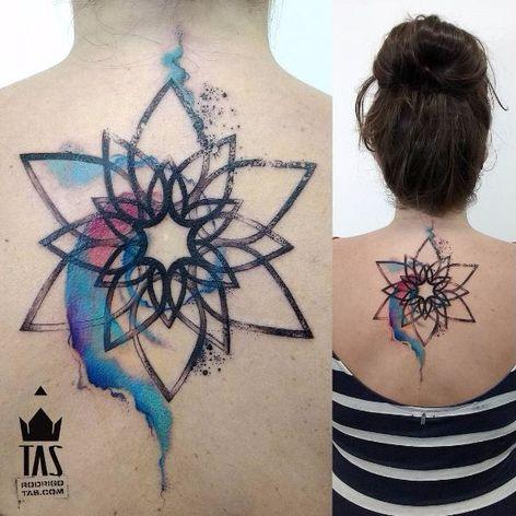 Mandala tattoo by Rodrigo Tas #RodrigoTas #watercolor #graphic #mandala
