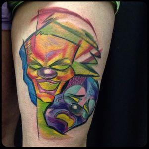 Surreal sketch mask tattoos by Tattoo Szabi #TattooSzabi #theatremasks #drama #theatre #masks #dramamasks (Photo: Instagram)