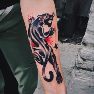 Panther tattoo by Liam Alvy (IG—liamalvy). #LiamAlvy #traditional #panther