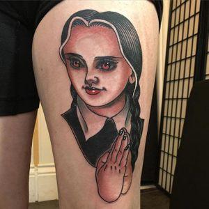 Wednesday Addams by @lizzietattoo #LizzieRenaud #ladyhead #traditional #Wednesday #WednesdayAdams