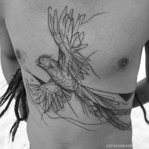 Bird tattoo by Katakankabin #Katakankabin #linework #sketch #abstract #bird