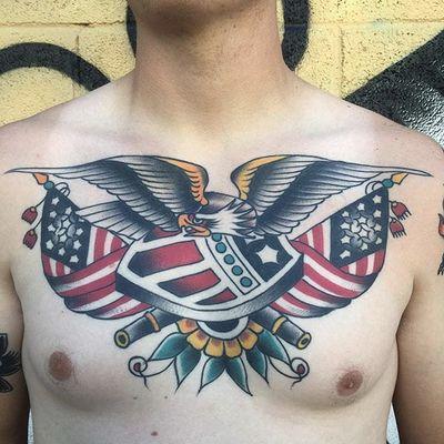Traditional by Steve Vonrįepen #SteveVonrjepen #traditional #color #eagle #flag #tattoooftheday