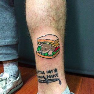 Puppy Sandwich Tattoo by Maria Truczinski #MariaTruczinski #Cartoon #Kawaii #Cartoontattoo #Kawaiitattoo #Puppy #Sandwich