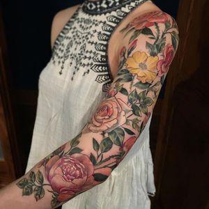 Beautiful sleeve, by Stephanie Brown #StephanieBrown #flowertattoo #colortattoo #rose #flower #floral #sleeve