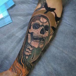 Hooded Skull Tattoo by Jake Danielson #skull #skulltattoo #neotraditional #neotraditionaltattoo #neotraditionaltattoos #neotraditionalartist #JakeDanielson