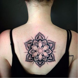 Mandala tattoo by Kerry Burke #KerryBurke #blackwork #blacktattoo #darkartists #mandala #mandalatattoo