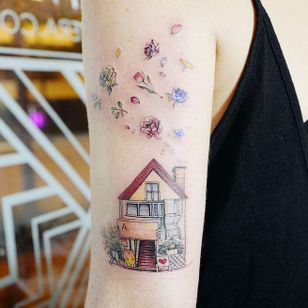 Home is where the heart is. Tattoo by Banul #Banul #architecturetattoos #color #linework #illustrative #house #home #heart #bear #flowers #roses #leaves #rosepetals #floral #building #tattoooftheday