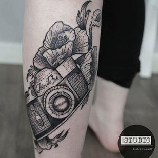 Photography tattoo by Craig Story. #photography #camera #photo #photographer #contemporaryart #blackwork