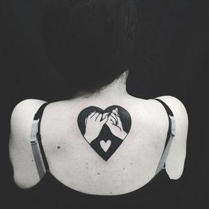 Blackwork tattoo by Matt Cooley. #MattCooley #blackwork #lovers #couple
