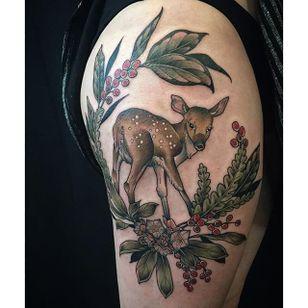 Garden-inspired tattoo by Kirsten Holliday. #KirstenHolliday #flower #garden #plant #neotraditional #fawn