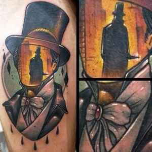 Jack the Ripper tattoo by Kurios Eugenios. #JacktheRipper #serialkiller #history #england #london #killer #portrait #faceless #landscapeportrait