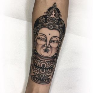 Lord Buddha tattoo by Gabriele Cardosi #GabrieleCardosi #buddhisttattoos #blackandgrey #realism #realistic #traditional #mashup #buddha #buddhism #lotus #portrait #meditation #pattern #floral #peace