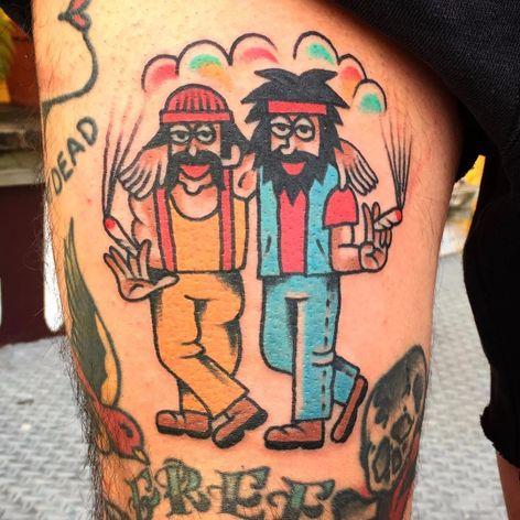 A cartoonish depiction of Cheech and Chong by Wan Tattooer (IG—wan_tattooer). #CheechandChong #traditional #WanTattooer
