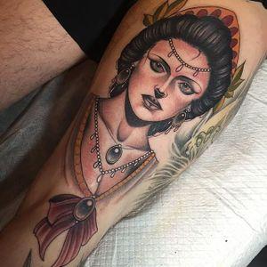 Neo Traditional Lady Tattoo by Bobby Dunbar #neotraditionallady #neotraditionalgirl #girltattoo #ladytattoo #neotraditionaltattoo #neotraditionaltattoos #girls #BobbyDunbar