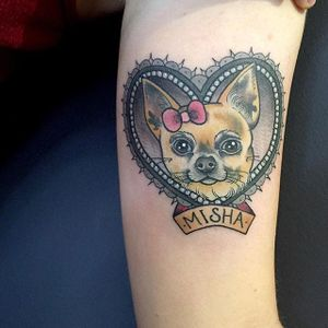 Chihuahua and heart tattoo with a hint of pink. #KittyDearest #neotraditional #dog #heart #chihuahua