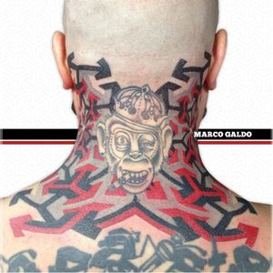 Adding to an existing nape tattoo. By Marco Galdo #MarcoGaldo #geometric #dotwork #monkey #redink #geometry #red #black