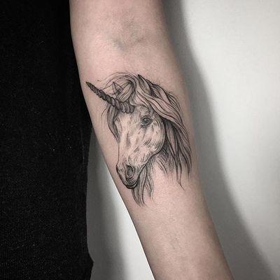 Unicorn tattoo by Lesya Kovalchuk. #LesyaKovalchuk #blackwork #mythology #unicorn #fantasy #fabulous #folklore #myth #horse #horn