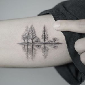 Trees on the lake. (via IG - nandotattooer) #microtattoo #small #tiny #scenery #fineline #nando