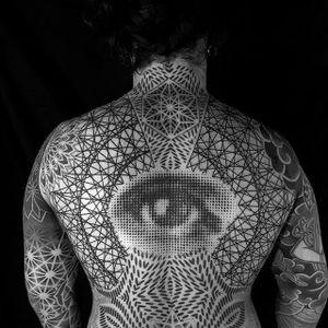 Back-piece in progress by Hands Mark #HandsMark #blackwork #geometric #mandala #pattern #eye #tattoooftheday