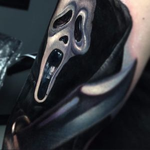 GHOSTFACE (via IG - paulackertattoo) #paulacker #halloween #horror #portrait #realism #ghostface