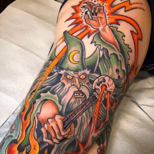 Warrior Wizard by Matt Van Cura #MattVanCura #newtraditional #color #wizard #moon #scepter #skull #magic #bones #fire #warlock #Sorcerer #tattoooftheday