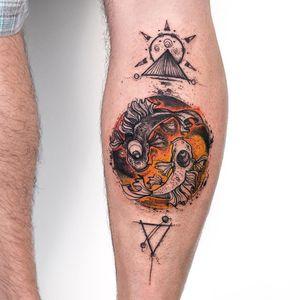 Yin-Yang #RobsonCarvalho #brazilianartist #brasil #brazil #tatuadoresdobrasil #ilustrtação #illustration #sketchstyle #estilorascunho #watercolor #aquarela #yingyang #peixe #fish #triangle #triangulo