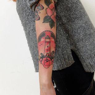 Lighthouse tattoo by Lou DC. #LouDC #kawaii #girly #cute #pinkwork #lighthouse