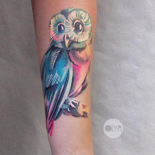 Owl Tattoo by Olya Levchenko #owl #watercolor #watercolorartist #contemporary #colorful #OlyaLevchenko