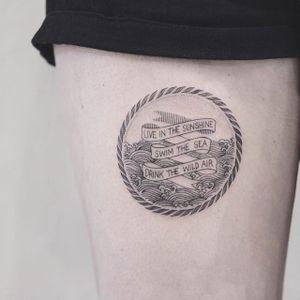 Fine line tattoo by Karry Ka-Ying Poon. #KarryKaYingPoon #Poonkaros #fineline #blackandgrey #pointillism #quote #travel #wanderlust