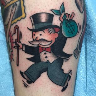Monopoly man tattoo by Pancho #Pancho #color #newtraditional #traditional #monopolyman #monopoly #money #suit #tophat #man #mustache #cane #bowtie #besttattoos #tattoooftheday