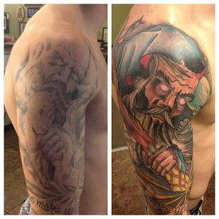Wizard sleeve cover-up by Joey knuckles (via IG -- joeyknucklestattoo) #joeyknuckles #wizard #sleeve #wizardsleeve #wizardsleevetattoo
