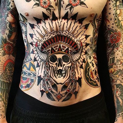Native American Skull Tattoo by Jesper Jørgensen #nativeamericanskull #traditional #nativeamerican #traditionaltattoo #oldschool #oldschooltattoo #darkart #darktraditional #JesperJorgensen