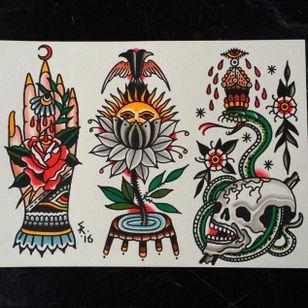 Traditional tattoo flash by Sam Ricketts, photo from Sam's Instagram. #flash #flashsheet #traditional #oldschool #skull #flower