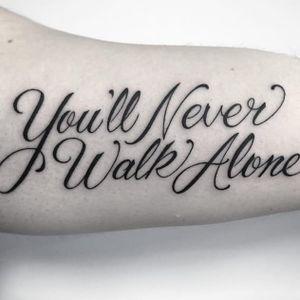 Liverpool FC script tattoo by Frankie Caraccioli #FrankieCaraccioli #neverwalkalone #football #liverpool #liverpoolfc #script #lettering