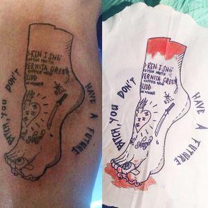 Severed foot from 'Kill Bill' tattoo by Kash Pinippler. #severedbodypart #gruesome #gore #killbill #movie #film #cultfilm #popculture #KashPinippler