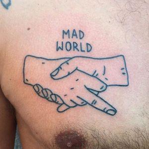 """Handshake"" tattoo by Magic Rosa. #themagicrosa #MagicRosa #ignorant #linework #bold #handshake"
