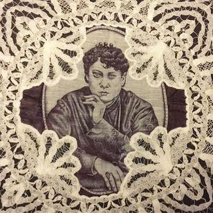 The Thinker via instagram maryjoytattoo #handkerchief #flashart #art #woman #portrait #maryjoy