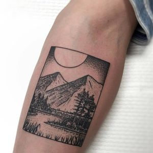 Mountain box tattoo by Charley Gerardin. #CharleyGerardin #box #portrait #contemporary #pointillism #blackwork #dotwork #handpoke #scenery #nature #mountain