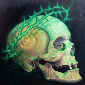 A painting of a skull in a crown of thorns with a snail's shell as part of its cranium by Christian Perez (IG—christian1perez). #ChristianPerez #crownofthorns #fineart #oilpaintings #snail #skulls