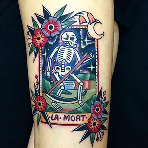 La Mort via instagram daniqueipo #traditional #colorful #french #death #skeleton #flowers #grimreaper #lamort #DaniQueipo